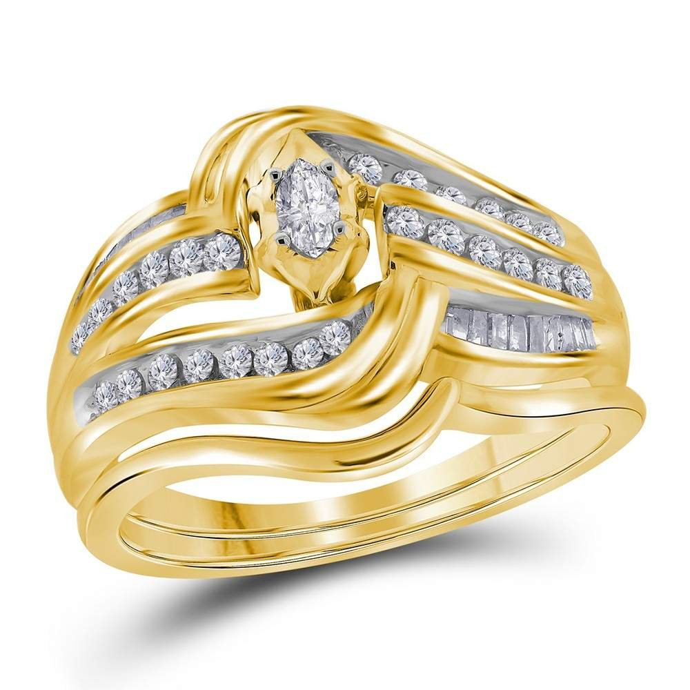 14kt Yellow Gold Womens Marquise Diamond Bridal Wedding Engagement Ring Band Set 1/2 Cttw (I1 clarity; I-J color)