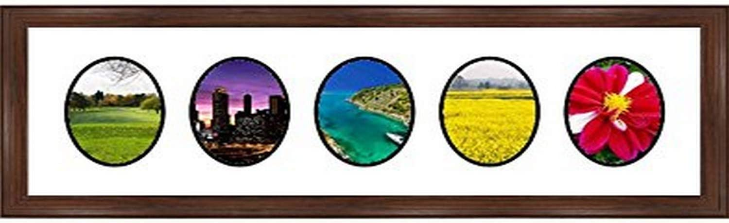Frames by Mail multimat-58942-610 Four Oval Opening Collage Frame for 6 x 8 Photo Walnut