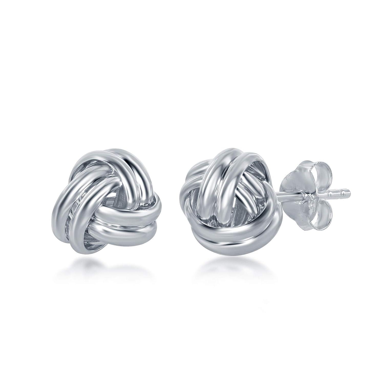 Sterling Silver Double Wire Love Knot Stud Earrings