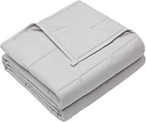 Weighted Blanket 20 LBS 60X80 Queen King Size Soft Oeko-TEX Certified Comfortable Breathable 100% Cotton Washable Weighted Blanket Glass Beads for (160-220 LB Person) Adult Man Woman Light Grey