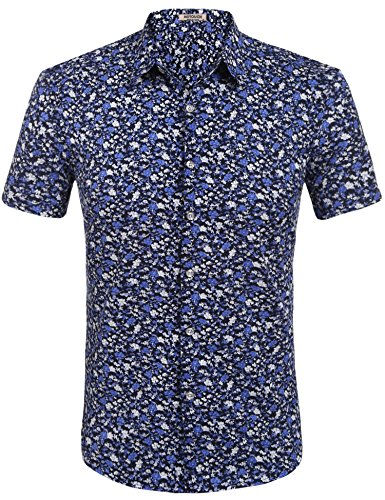 (HOTOUCH Men Short Sleeve Floral Printed Button Down Shirt Black Purple L)