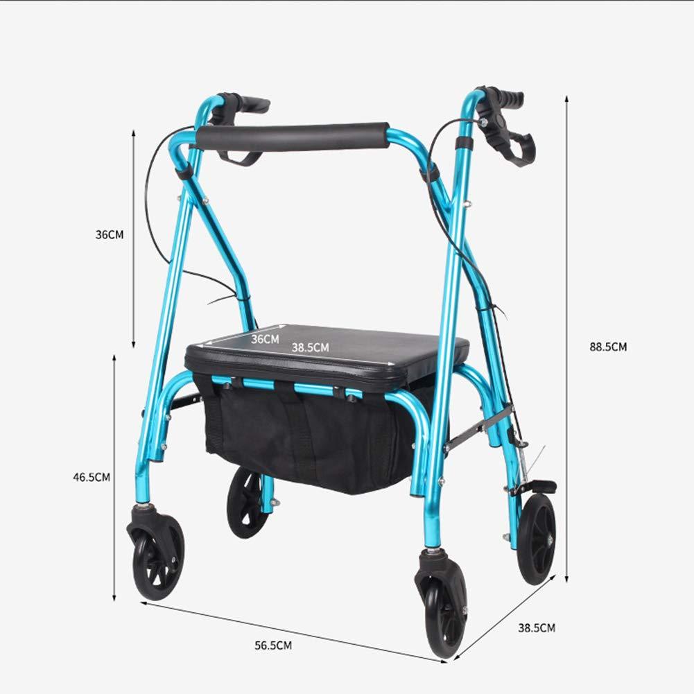 ADstore Andador para Ancianos de 4 Ruedas Rollator Deluxe Plegable ...