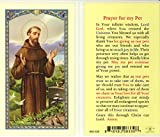 WJ Hirten E24-314 Prayer for My Pet, Clear Holy Cards