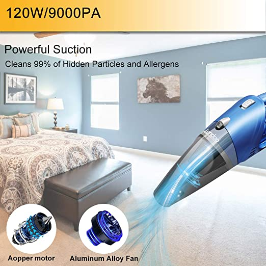 Aspiradora de mano Sin Cable 9000PA/120W para coche en seco y húmedo, 68 dB, silenciosa, con sistema de filtro de dos niveles, aspirador con batería de litio de 2600 mAh, carga rápida: