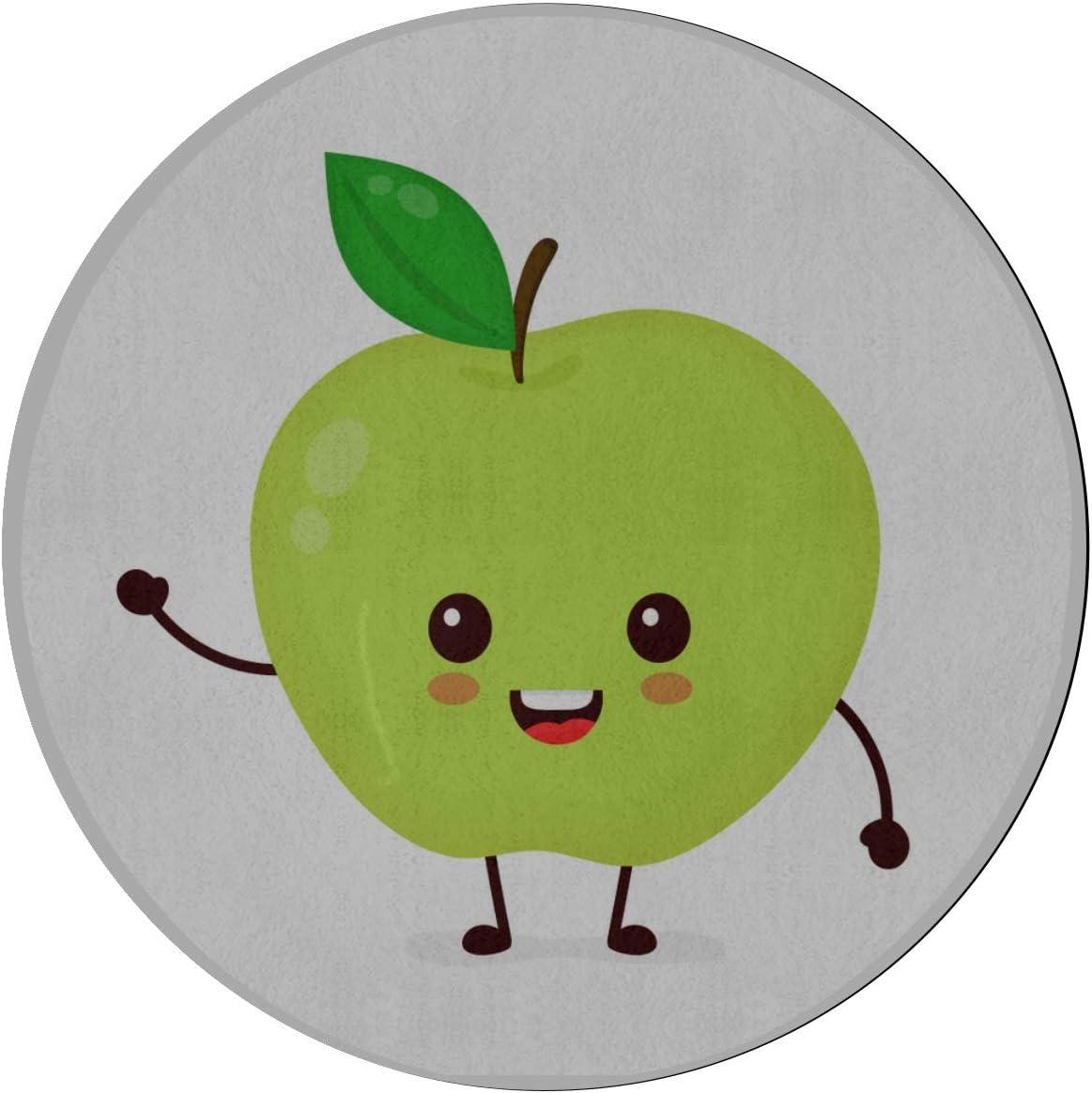 Alfombra de área de juego Alfombra de manzana verde fresca y jugosa de dibujos animados para dormitorios Alfombra de microfibra antideslizante redonda de 2 pies Lavable a máquina Alfombra de área de: