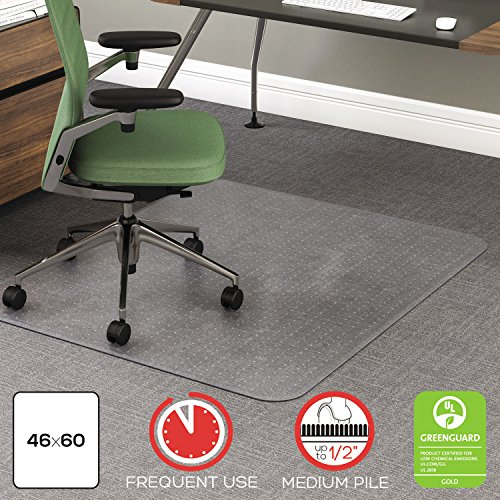 deflect-o CM15443F 46 by 60-Inch Rollamat Studded Beveled Mat, Medium/High Pile Carpet, Clear