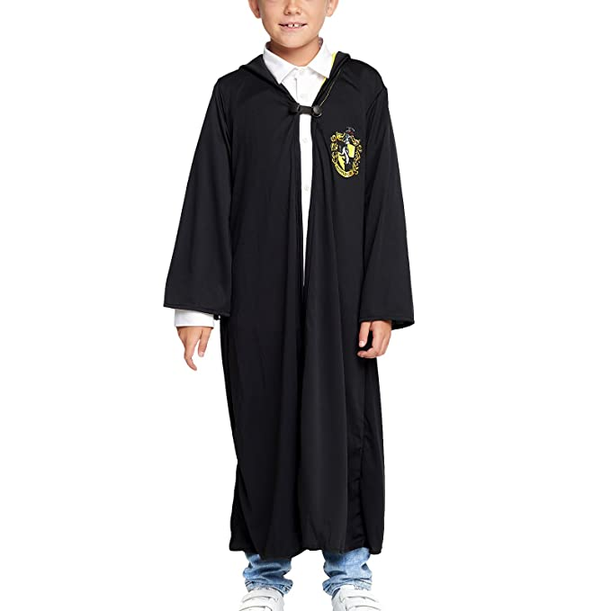 Harry Potter niños Traje Capa Hufflepuff Negro - M: Amazon.es ...