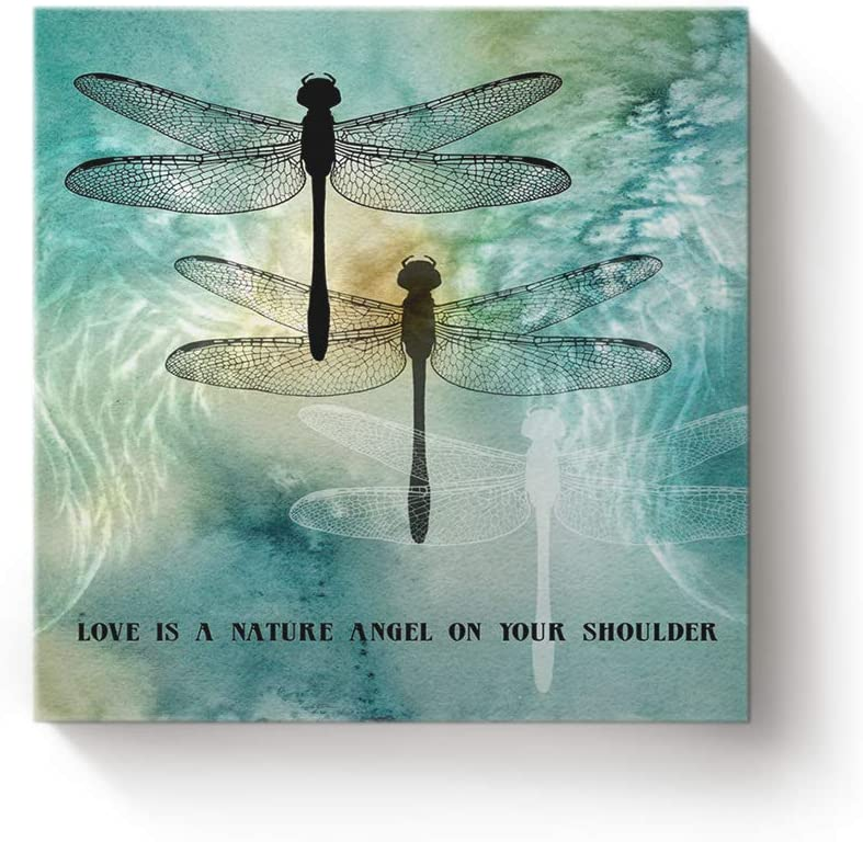 YEHO Art Gallery Square Canvas Wall Art Artwork Decor for Home Office,Quote Love is A Nature Angel on Your Shoulder Dragonfly Printed Pictures,Stretched by Wooden Frame,Ready to Hang,20 x 20 Inch