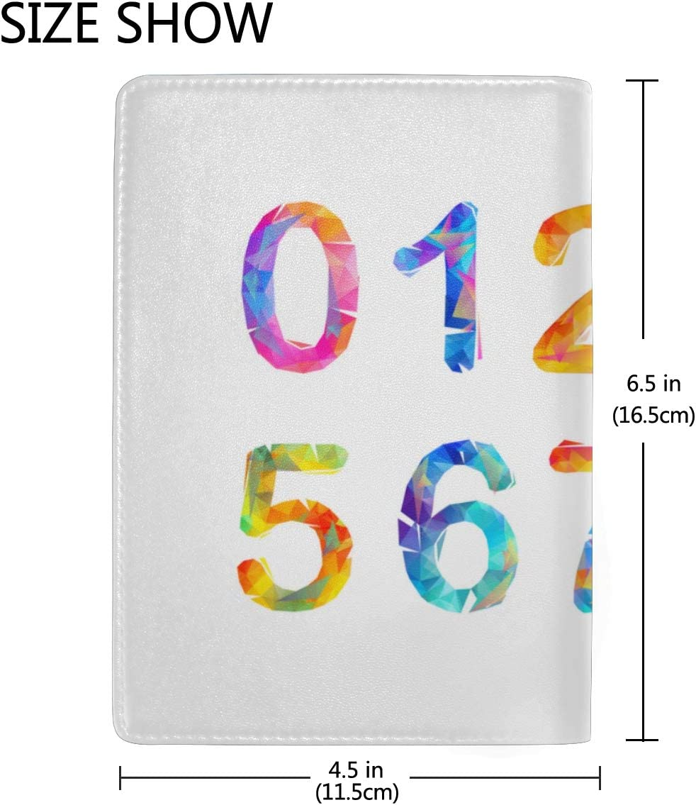 Cartoon Colorful Numbers Set Blocking Print Passport Holder Cover Case Travel Luggage Passport Wallet Card Holder Made With Leather For Men Women Kids Family