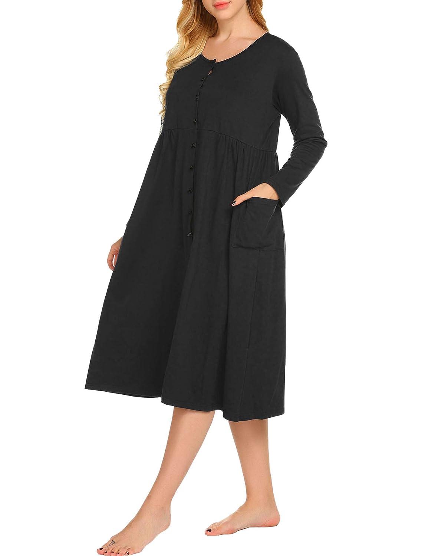 Ekouaer Pajamas Button Front Maxi Nightgown Women's Long Sleeves Knit Lounger Sleepwear Plus Size S-XXL EKK008454