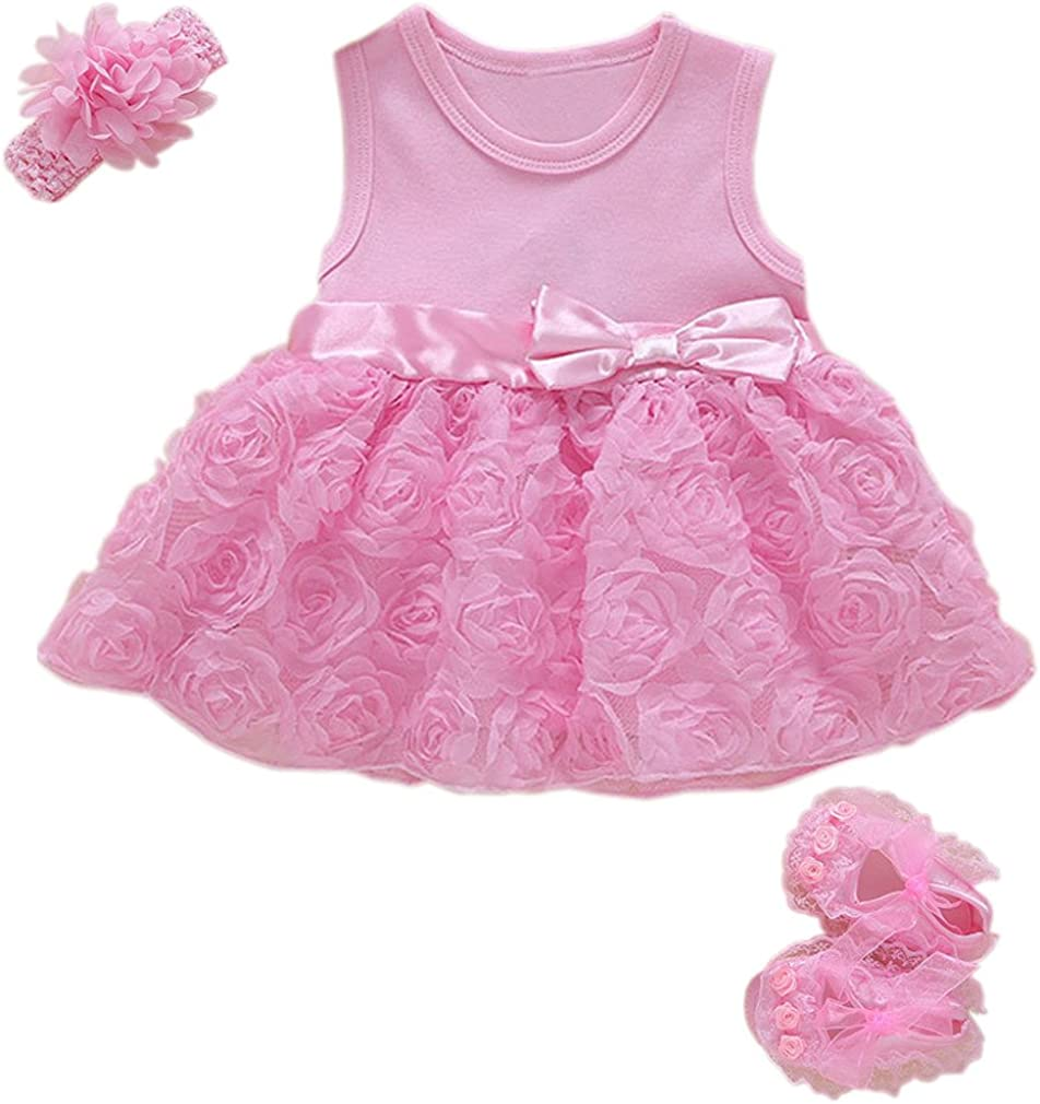 Niyage Baby Girls Clothes Dress Headband Shoes 3 Pcs Set Flowers Party Outfit