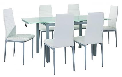 Mobilier Deco Table A Manger En Verre Avec 2 Rallonges Extensible 6 Chaises Blanche Born