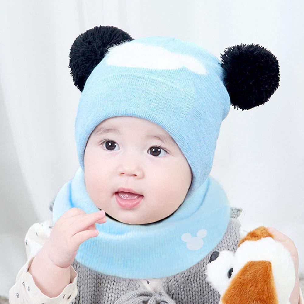 Myzixuan Bebé recién Nacido Sombrero Bufanda Lana Engrosamiento suéter  Invierno Punto Tapa Tapa de llanta de bebé  Amazon.es  Jardín 1fd0c0d27ec