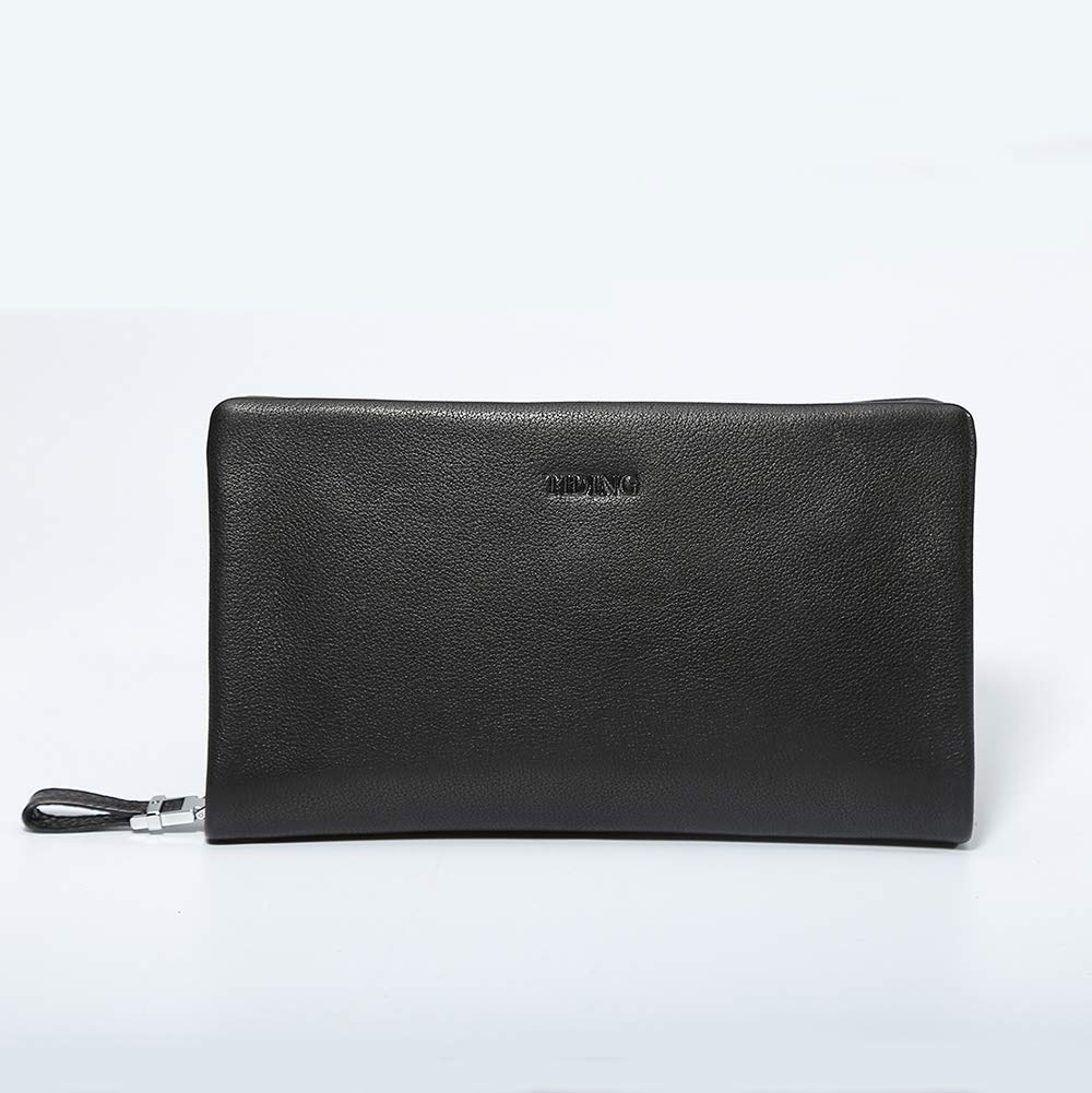 TIDING Mens Wallet Long Wallet Leather Wallet Vintage Purse Black
