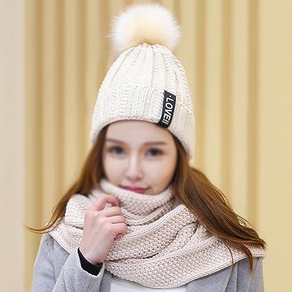 Sciarpe Xiaolin- Cappello Inverno Thicker Berretto Due Pezzi Moda Selvaggio  Alunno Tenere Caldo Cappello Lavorato c5e57236395b