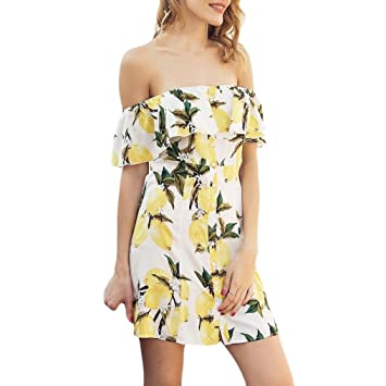 8f47844a3af Image Unavailable. Image not available for. Color  Kstare Womens Summer Off  Shoulder Floral Print Sundress Party Short Beach Mini Dress ...
