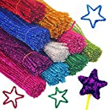 TECH-P Creative Life 100 Pack Glitter Creative Arts Chenille Stem Class Pack Tinsel Stems 6mmx 12-Inch With 100 PACK Pom Poms Plus 100 Pack Wiggle Eyes.