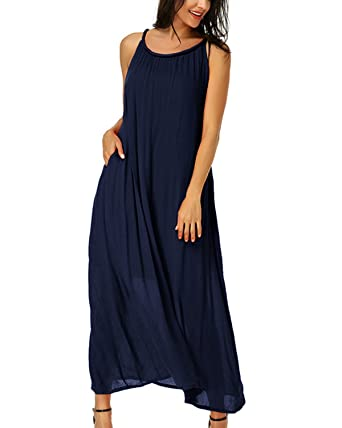 d88c5bd721 Auxo Women Sleeveless Maxi Dress Sexy Solid Loose Strap Ruched Casual Boho  Beach Swing Summer Dress  Amazon.co.uk  Clothing