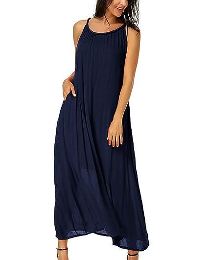Dress Lange Cocktail Lose Kleid Oversize Maxi Ärmellos Auxo Ausschnitt Damen V Kleider wOPnk0X8