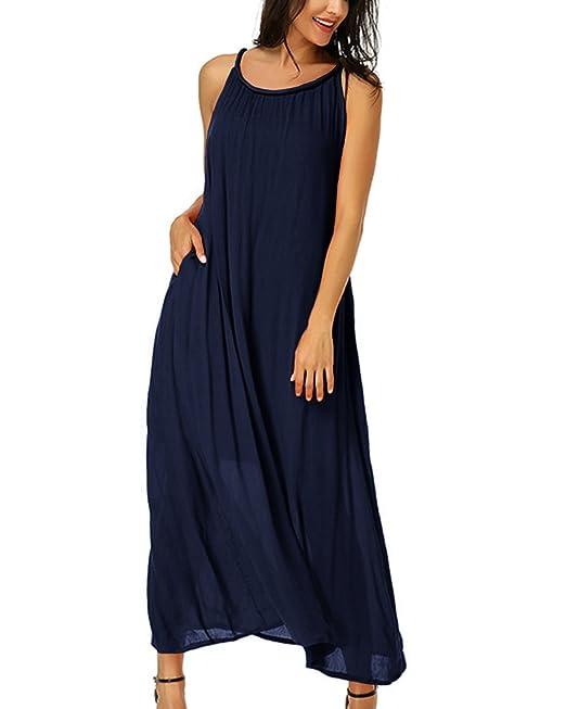Auxo Mujer Vestidos Largos Sueltos Sin Mangas Sin Espalda Cuello Redondo con Bolsillos En Verano Azul