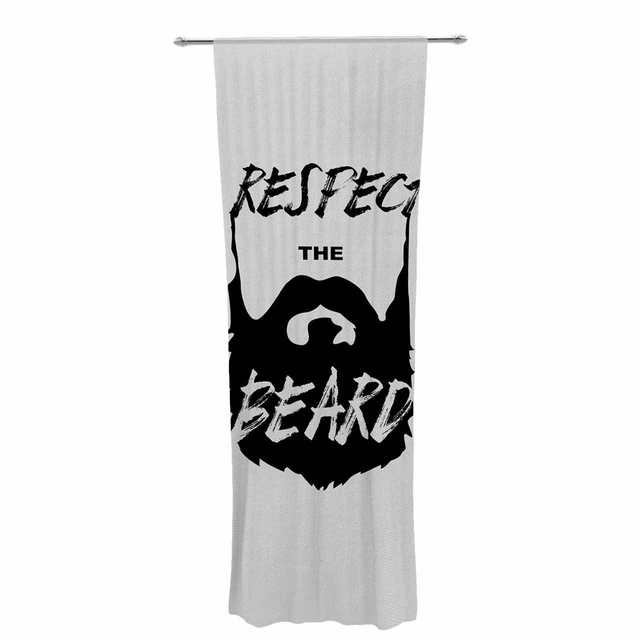 Kess InHouse Juan Paulo Respect Typography Beard Black Gray Decorative Set 30 x 84 Sheer Curtains