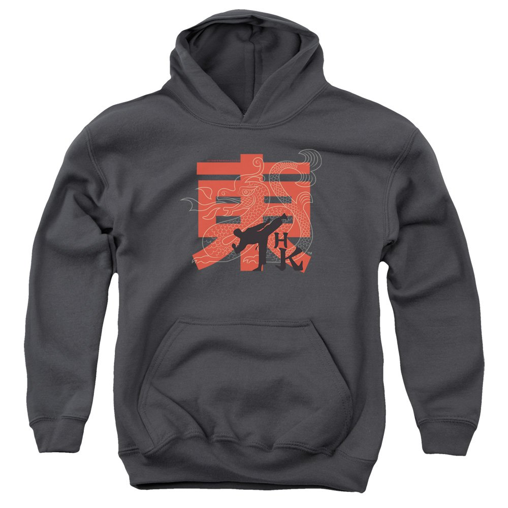 Trevco Hai Karate Hk Kick Unisex Youth Pull-Over Hoodie for Boys and Girls, Large Charcoal by Trevco