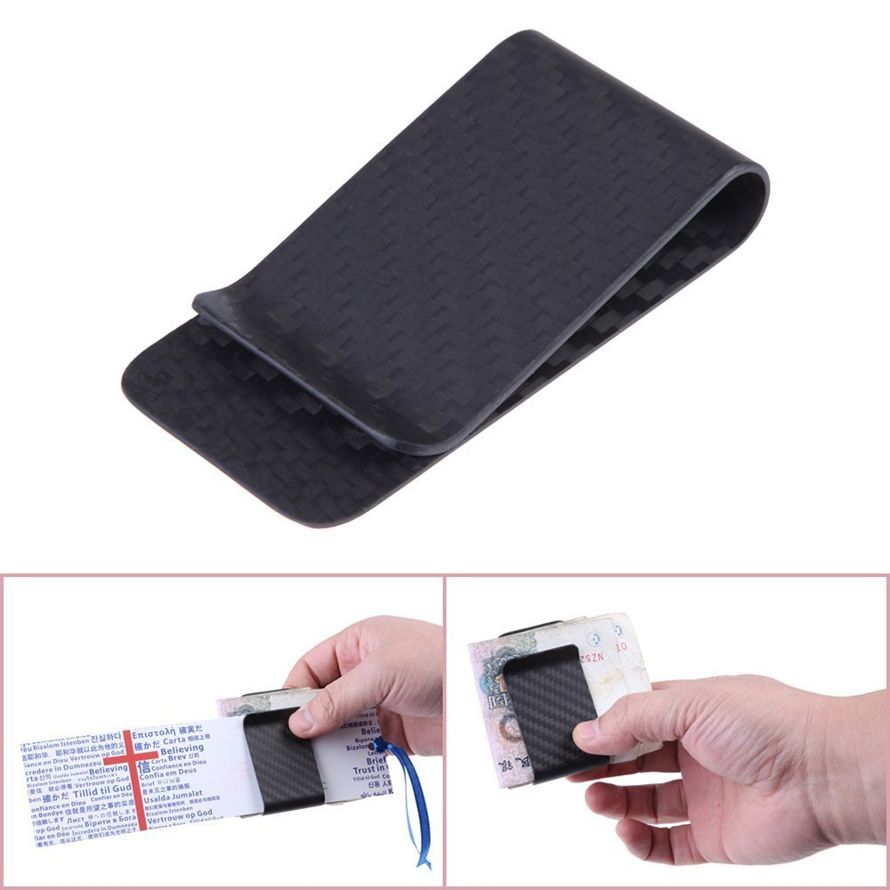 Anself Pinza de billetes de fibra del carbón clip de dinero en efectivo de tarjeta de crédito de mate
