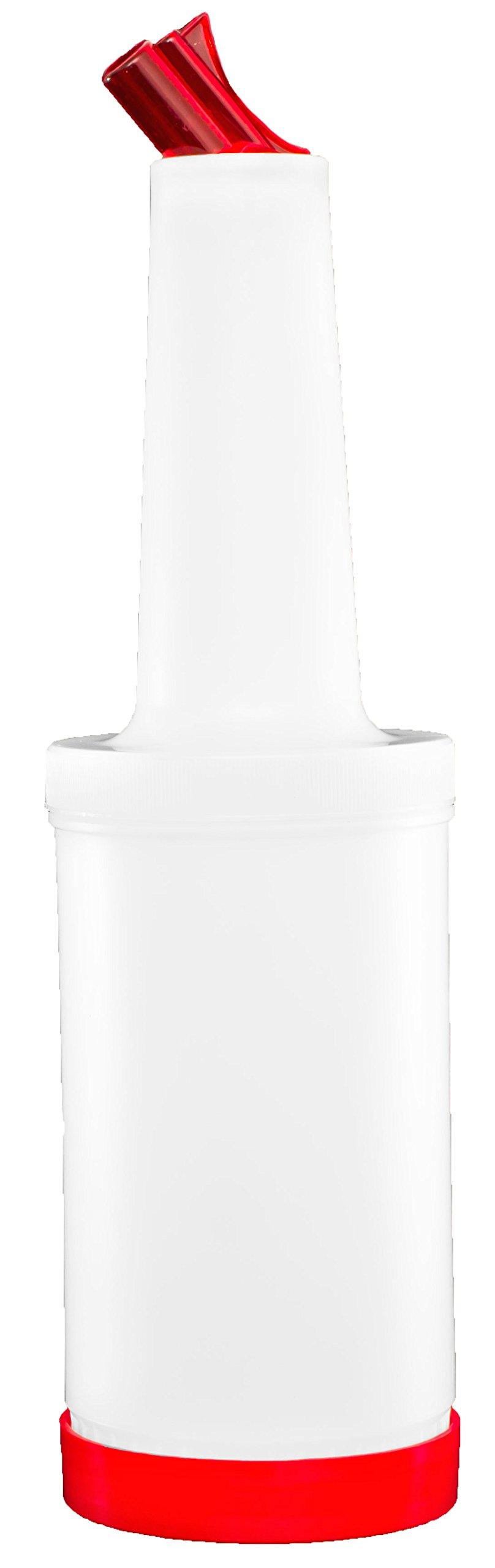 Mr. Tonic - 1 qt. Plastic Bar Pour Bottle w/Red Spout