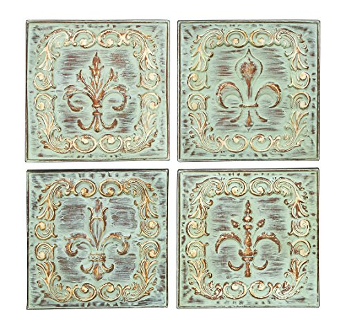 Benzara Distressed Metal Wall Decor With Filigree Carvings, Set of Four, Bronze
