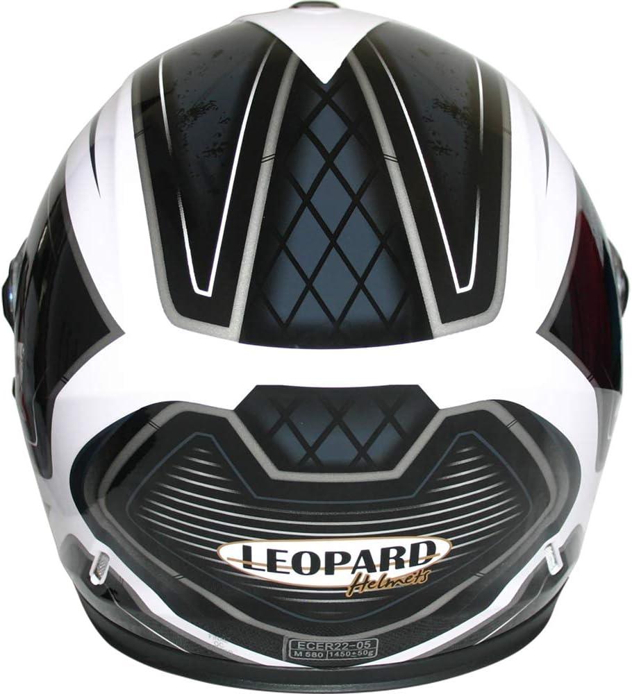 Leopard LEO-828 DVS Motorradhelm Integralhelm Rollerhelm Sturzhelm mit Doppelvisier Sonnenblende Blau//Schwarz//Wei/ß XS 53-54cm