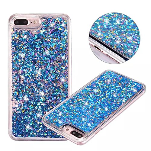 iPhone 7 Plus Glitter Case, NOKEA hard Rubber Flowing Liquid Floating Luxury Bling Glitter Sparkle Flexible Protective Shell Bumper Case Cover for iPhone 7 Plus 5.5inch (Blue#1)