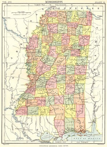 MISSISSIPPI: State map showing counties. Britannica 9th edition;1898