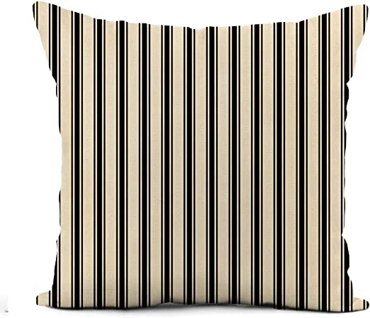 Amazon Com Awowee Linen Throw Pillow Cover Classic Ticking Stripe Pattern Black And Cream Striped 18x18 Inch Home Outdoor Decor Pillowcase Square Pillow Case Cushion Cover For Sofa Bed Home Kitchen