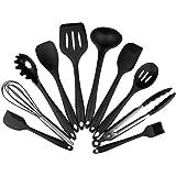 Marsoul Set de 10 utensilios de cocina de silicona, espátula resistente al calor, herramientas de horneado antiadherente cepillo, pinzas, batidor Gadgets de cocina(Negro 10pcs Set)