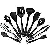 Black Silicone Kitchen Utensils Set, Non Stick Cooking Utensils Set, Silicone Baking Spatula tool (10 pieces, Black)
