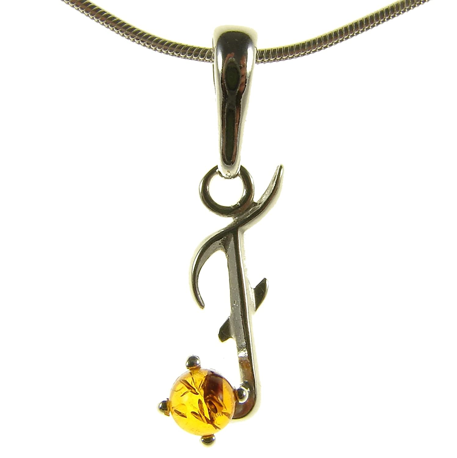 BALTIC AMBER AND STERLING SILVER 925 ALPHABET LETTER F PENDANT NECKLACE 10 12 14 16 18 20 22 24 26 28 30 32 34 36 38 40 1mm ITALIAN SNAKE CHAIN