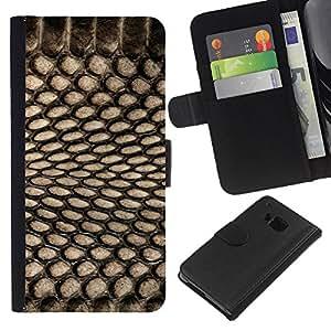 BearCase / Cuero de la tarjeta la carpeta del tirón Smartphone Slots Protección Holder /// HTC One M9 /// Patrón Spots Textil Negro netas