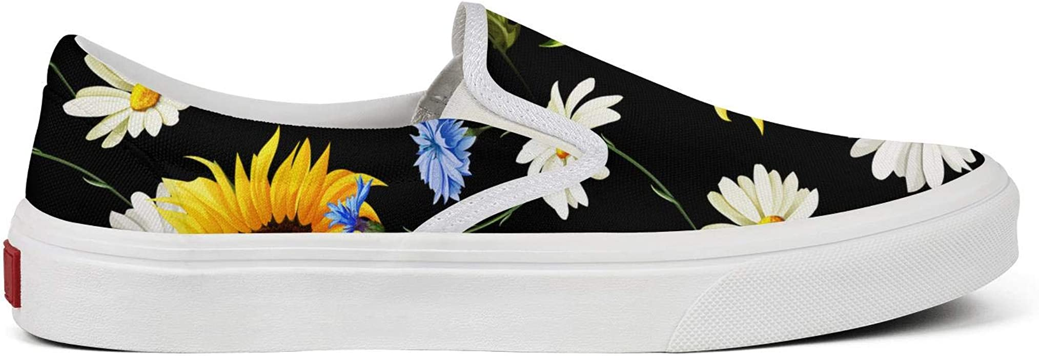 Seamless Sunflowers Chamomile Camomile Classic Womens Canvas Slip-On Shoes Sneaker