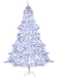 goplus 6ft artificial pvc white christmas tree with metal stand holiday season indoor outdoor white - White Outdoor Christmas Tree