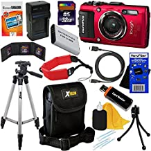 Olympus Stylus Tough TG-4 Water, Shock, Freeze & Crush Proof 16MP Wi-Fi Digital Camera with GPS & HD Video, Red (International Version) + Battery & Charger + 11pc 32GB Dlx Acc Kit w/HeroFiber Cloth