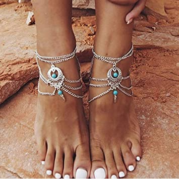 Summer Vintage Ethnic Beaded Chain Double Starfish 2 Layer Bead Charms Anklet
