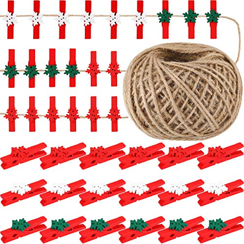 Boao 100 Pieces Snowflake Wood Clips Christmas Snowflake Clothespins Photo DIY Wood Clips Small Craft Pegs with 50 Meters Rope for Game Favors Party Ornaments (Color 2, 1.78 x 0.7 Inch)