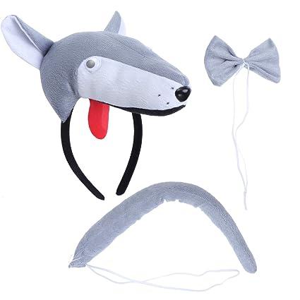 LUOEM 3Pcs SET Cappello Cravatta Coda di Cavallo per costume di bambini ( Lupo) 347b46cf9c13