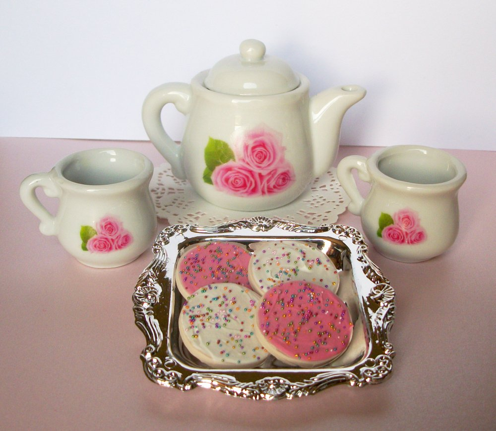 Pink Roses Ceramic Tea Set Pitcher 2 Glass 4 cookies Playset for 14 inch and 18 Inch dolls American Girl, Journey Girls, Our Generation, Madame Alexander, Wellie Wishers, Hearts for Hearts, Glitter