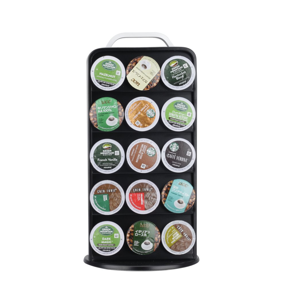 RECAPS Coffee Capsules Pods Holder Carousel 360 Degree Revolving Compatible with Keurig K Cup Stores 30 Pods Cast Iron Black Color