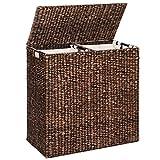 Water Hyacinth Double Laundry Hamper Basket 2 Liner Basket Bags Brushed Espresso
