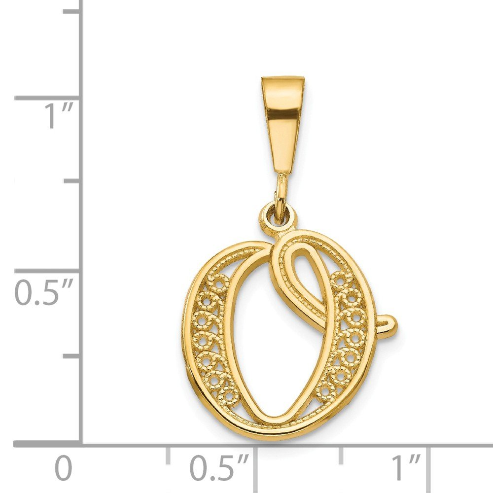 14K Yellow Gold Initial O Charm Pendant