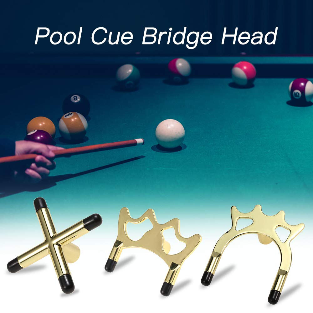 Tickas 2 PCS Metal Imperial Pool Billiards Cue Bridge Head Billiards Rod Rack Spider Cross Bridge Head Pool Bridge Stick Cue Pole Rack Sports Accessory