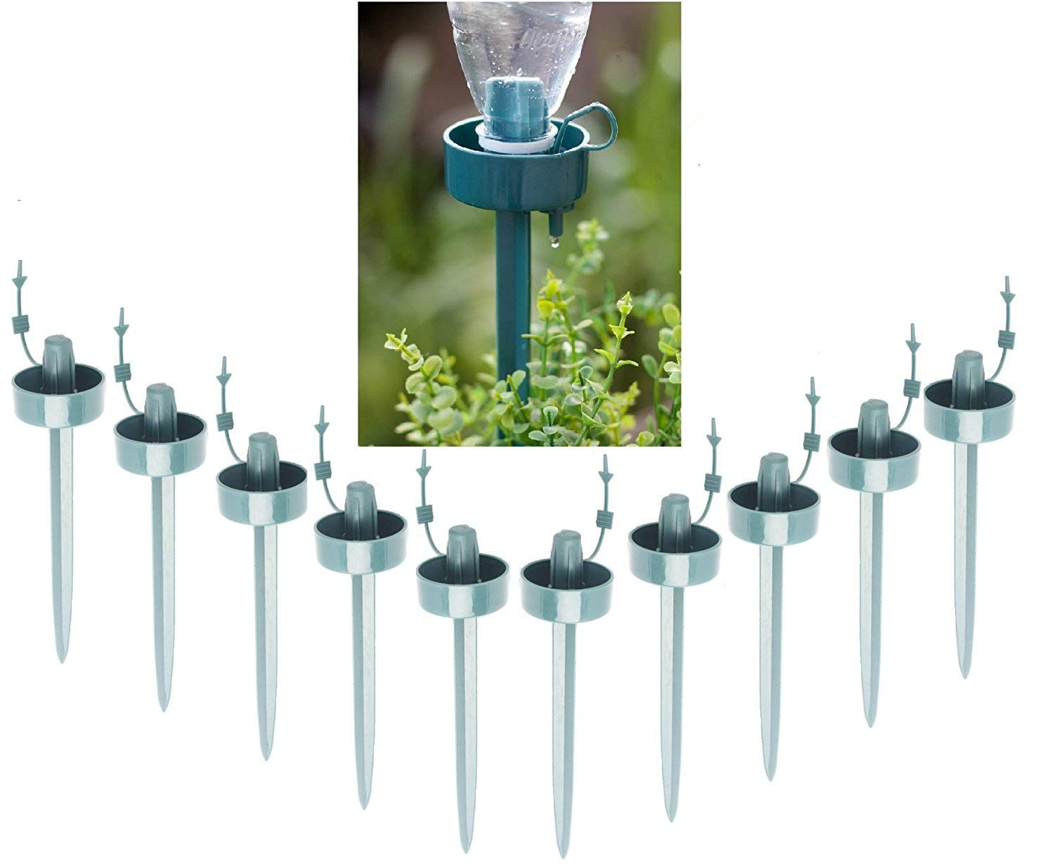 10 Pack Automatic Watering Irrigation Drippers, Garden Plant Flower Self Watering Spikes Device with Adjustable Flow Rate, Vacations Plant Drip Sprinkler Water Watering Kits Agemore