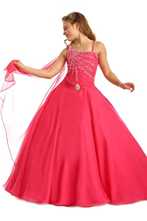 Amazoncom Junguan Flower Girls Birthday Party Gowns Kids Crystal